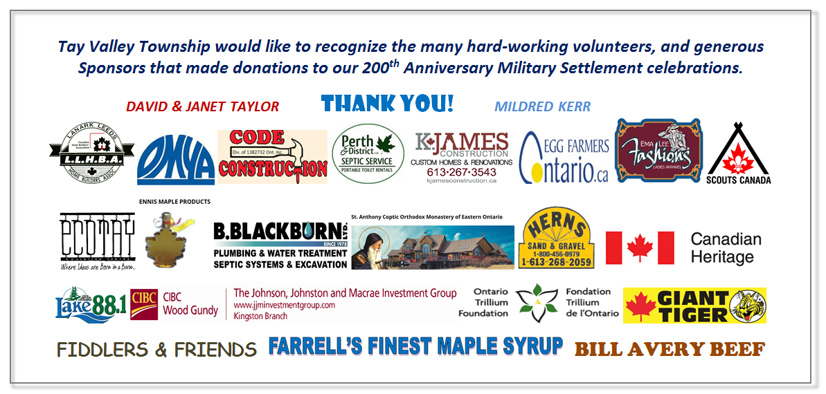200th Anniversary Volunteers and Sponsors Thank You