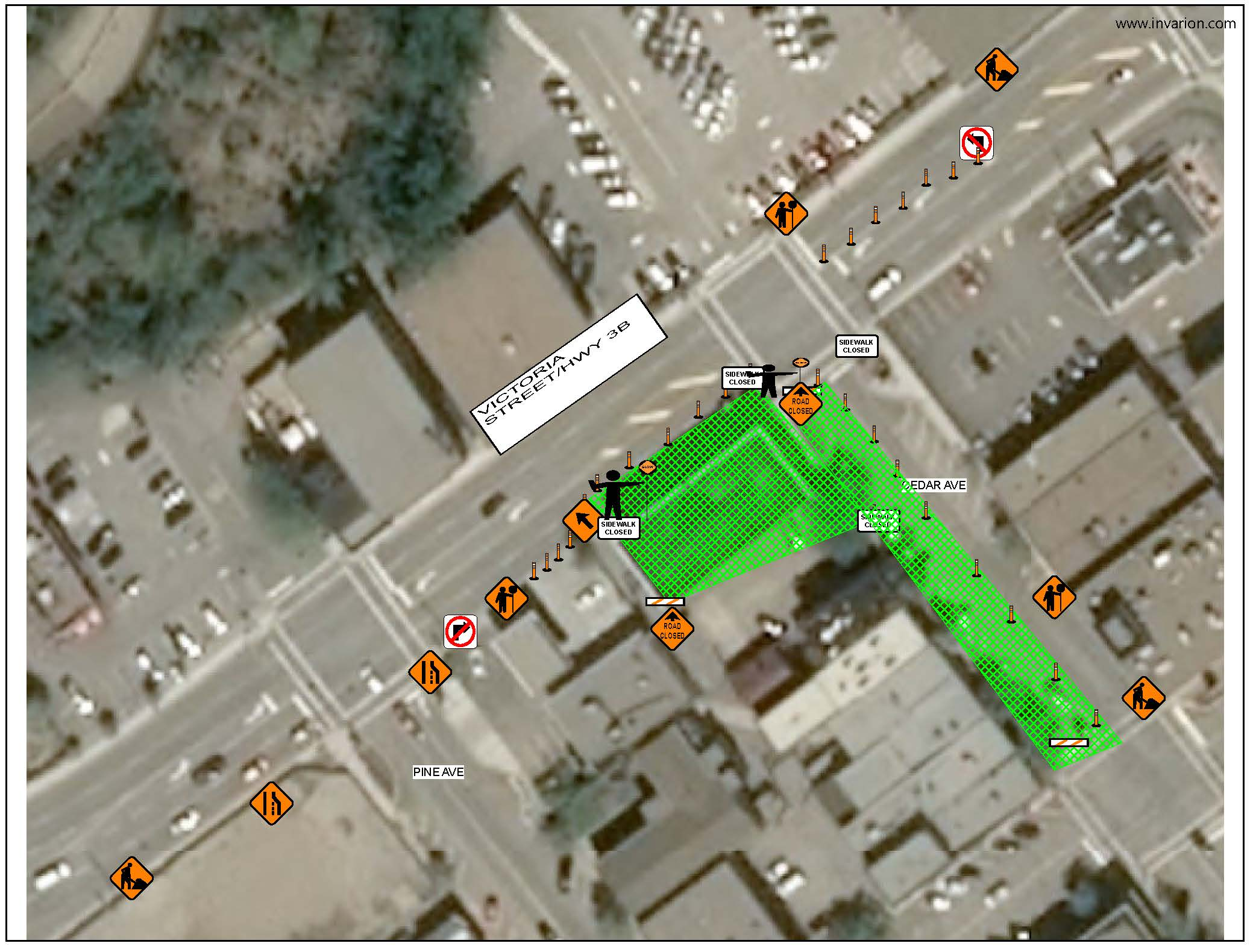 Map Traffic Management Plan for street closure