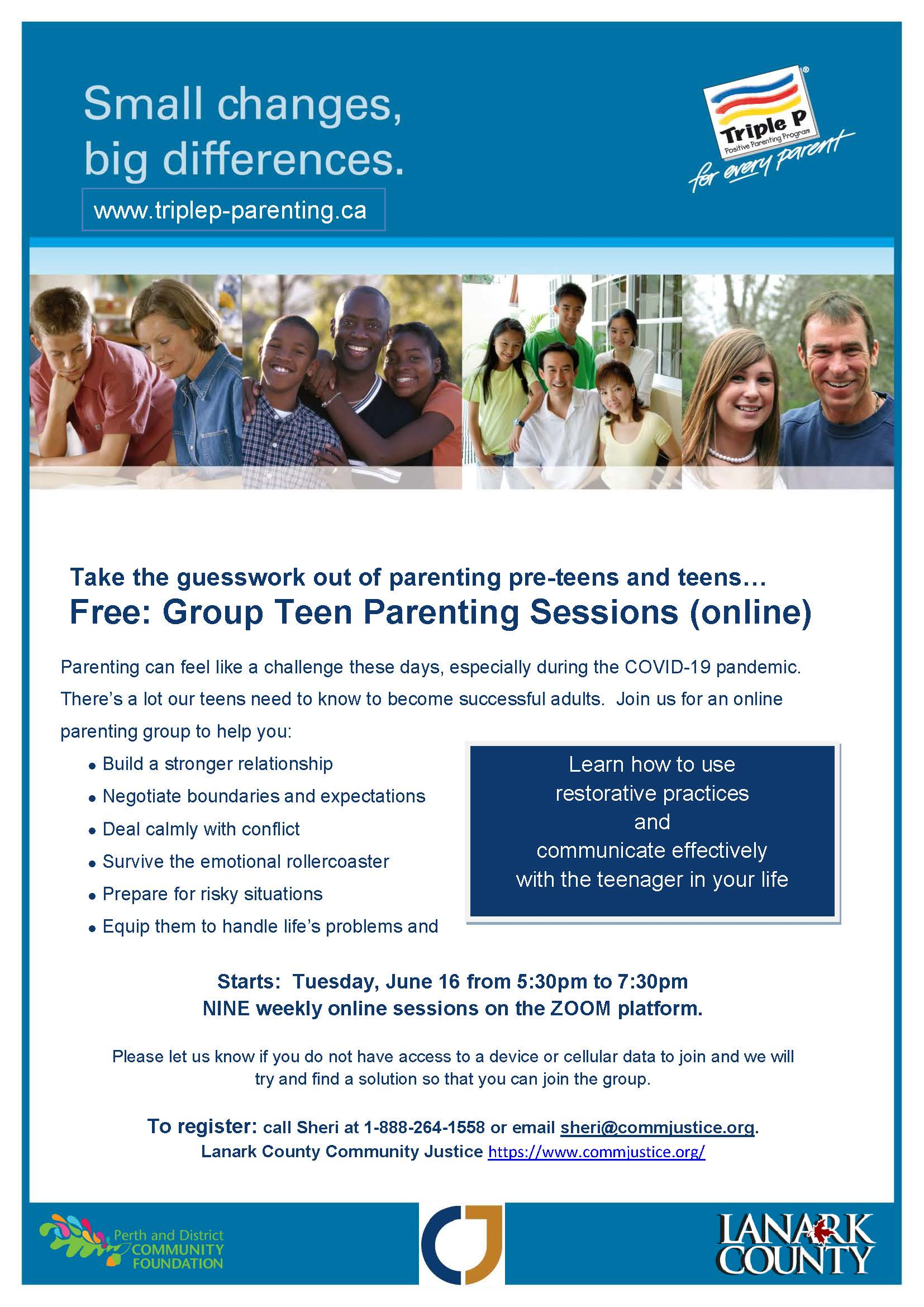 Free On-Line Teen Parenting Group Session June 16th for 9 weeks