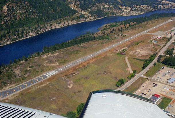 Aerial view of YZZ runway