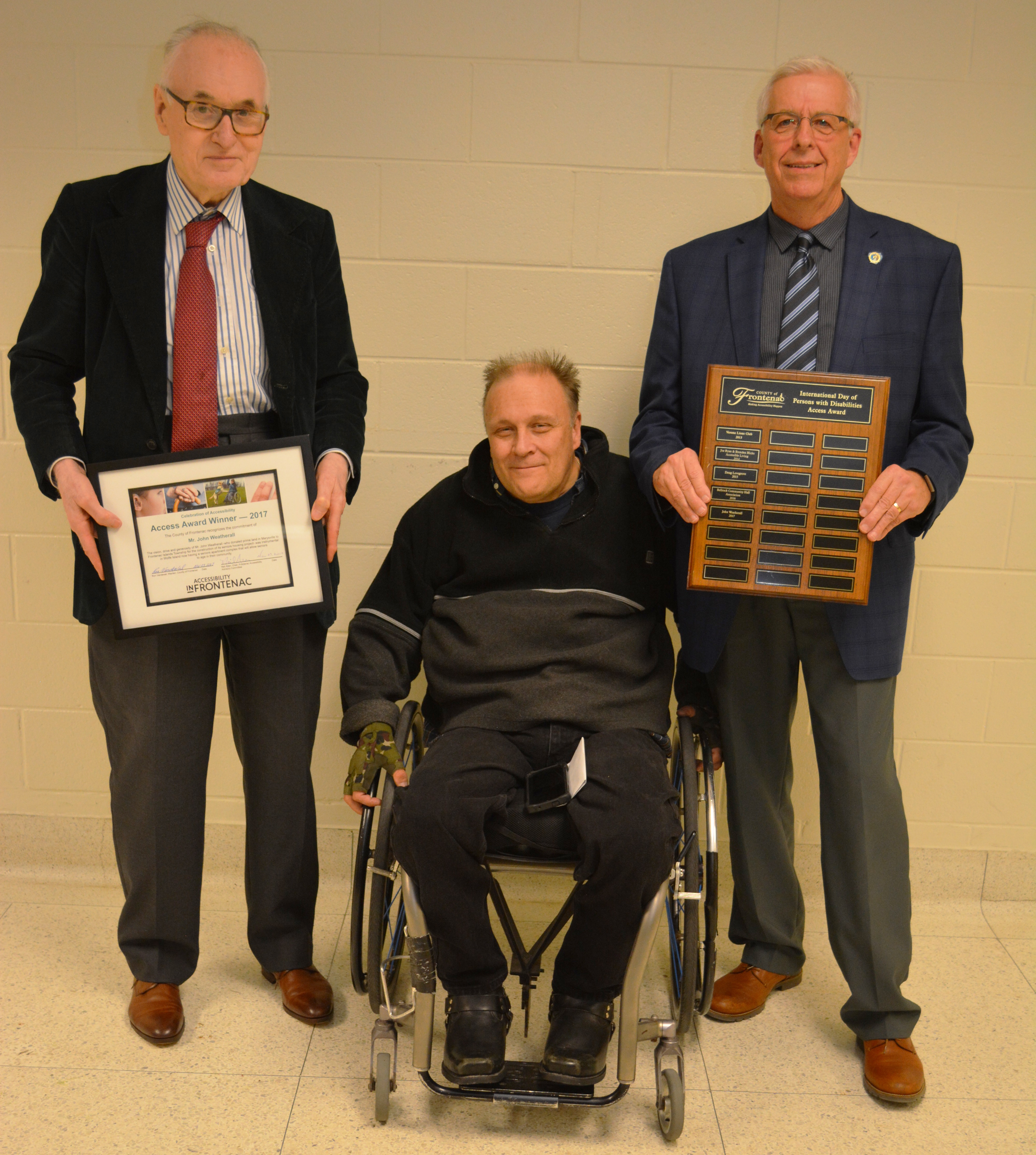 Mr. John Weatherall receives Frontenac County 2017 Access Award