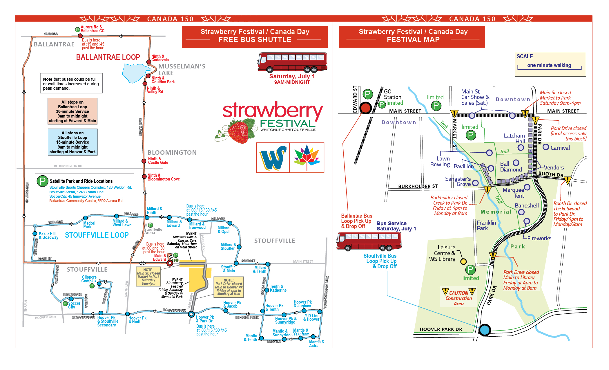 Canada Day Map & Bus Shuttle