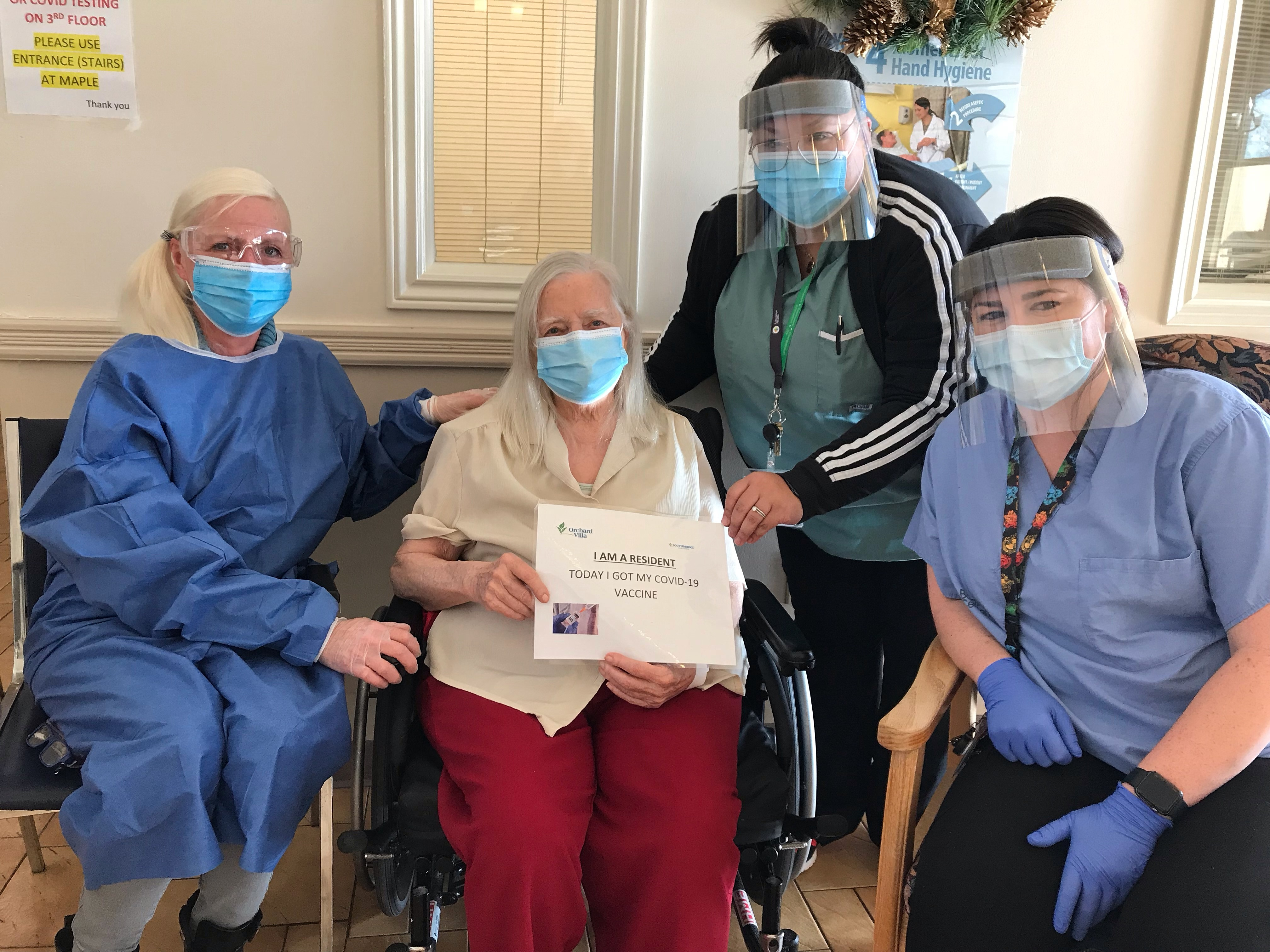 Ruth Smith, daughter  Dorothy Nancarrow, Resident  Krystle Luu, RN  Danielle Whittle, RN
