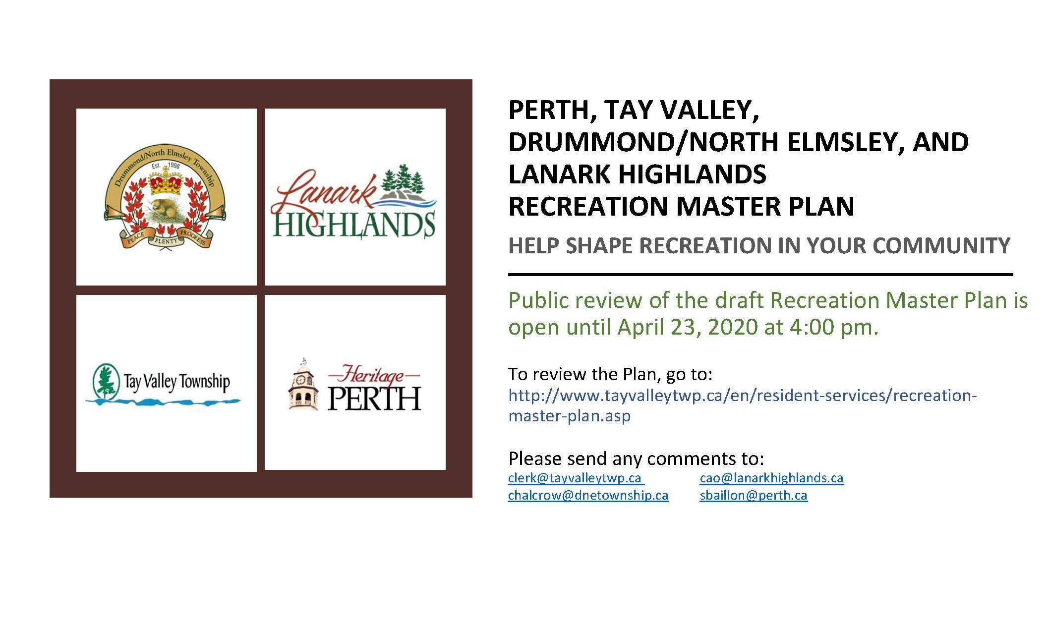 20-03-13 - Recreation Master Plan - Final Public Review - Notice