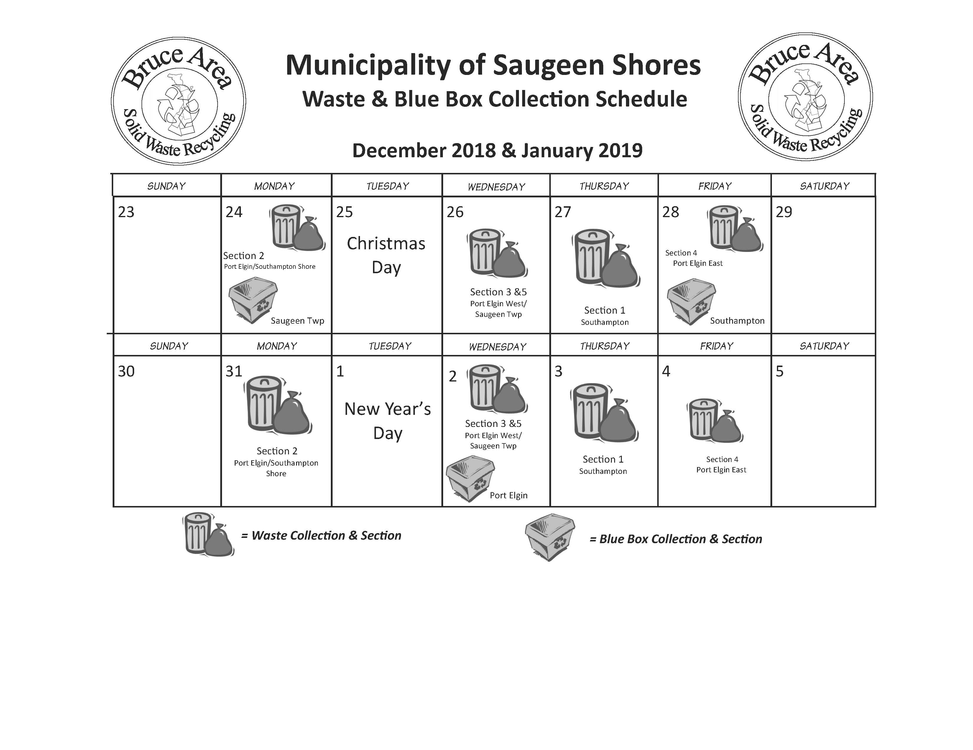 BASWR Holiday Schedule - Saugeen Shores