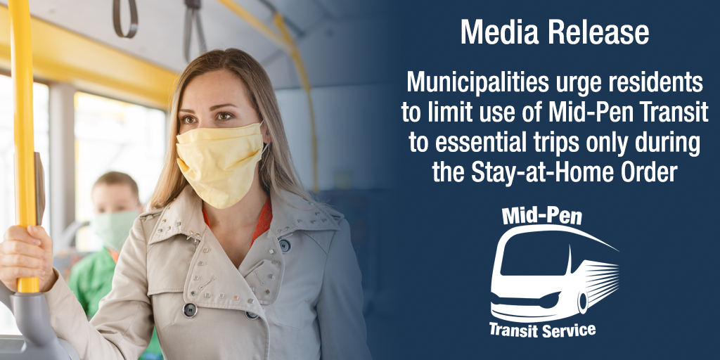 Media Release - Municipalities urge residents to limit use of Mid-Pen Transit to essential trips only during the Stay-at-Home Order