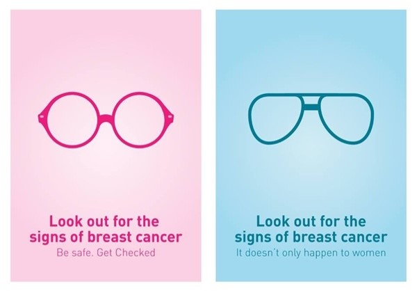 Look out for the signs of breast cancer. Be safe. Get checked.